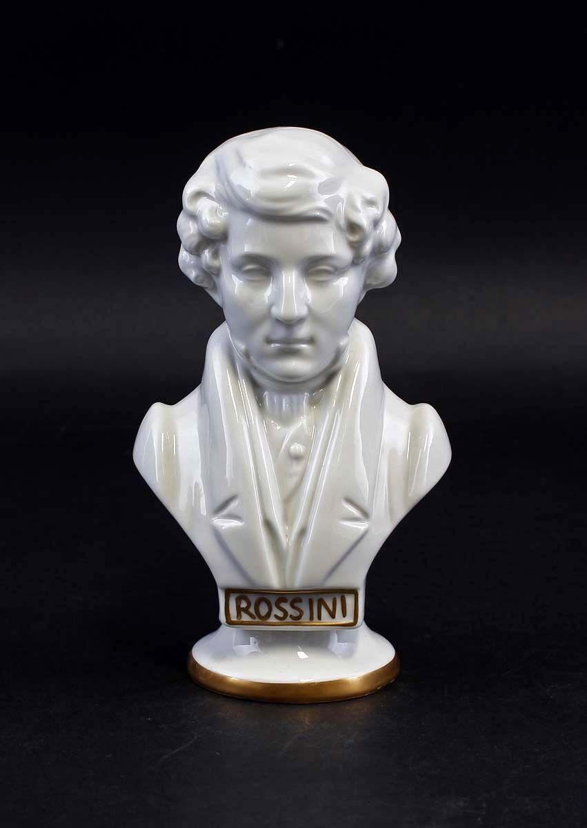 Porzellan Büste Komponist Rossini weiß Gold Wagner & Apel H15cm 9942510