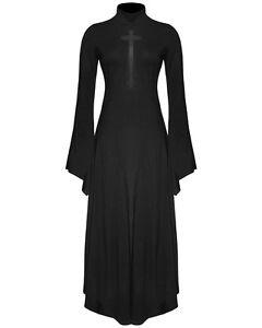 Punk-rave-gothique-croix-robe-longue-noir-sorciere-occulte-a-manches-longues-maille-crucifix