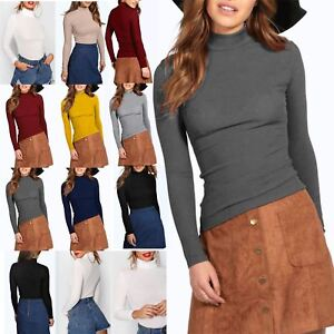 11b6a10cbc2aea Ladies Thin Ribbed Stretchy High Turtle Polo Neck Long Sleeve Womens ...