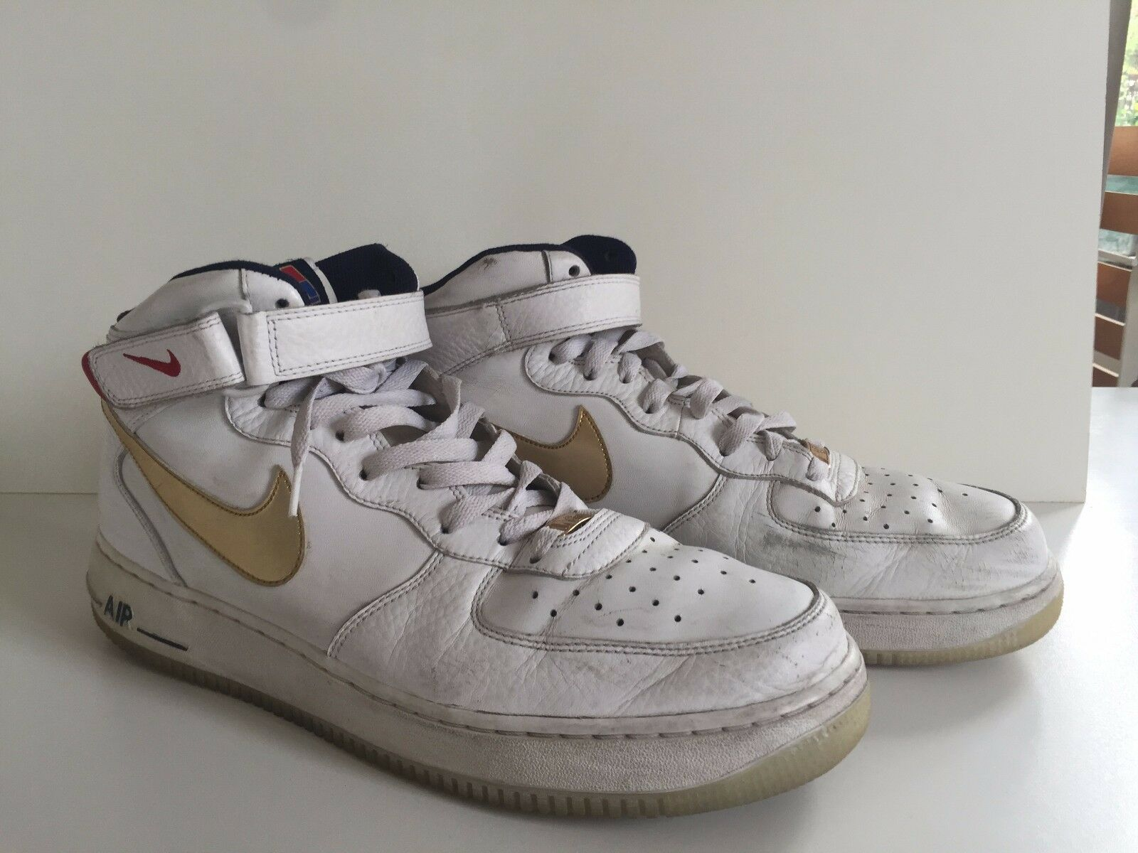 NIKE AIR FORCE 1 OLYMPIC USA Leather White/ Gold High Sz 13 Rare