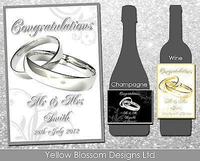 Personnalisé De Vin Bouteille De Champagne étiquette Mariage Anniversaire Poule Nuit Anneaux Ebay