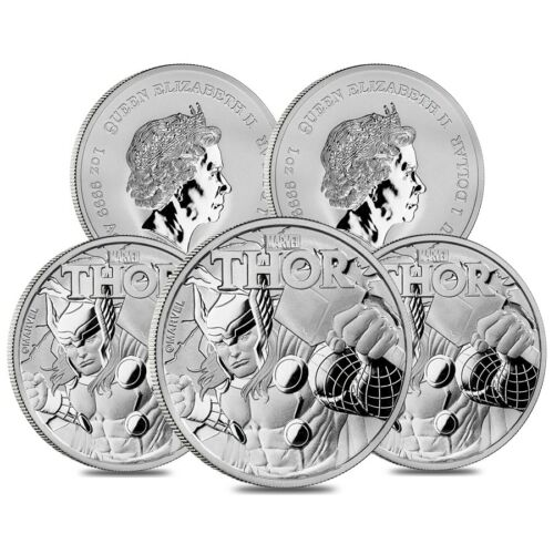 Lot of 5-2018 1 oz Tuvalu Thor Marvel Series Silver Coin .9999 Fine Silver BU