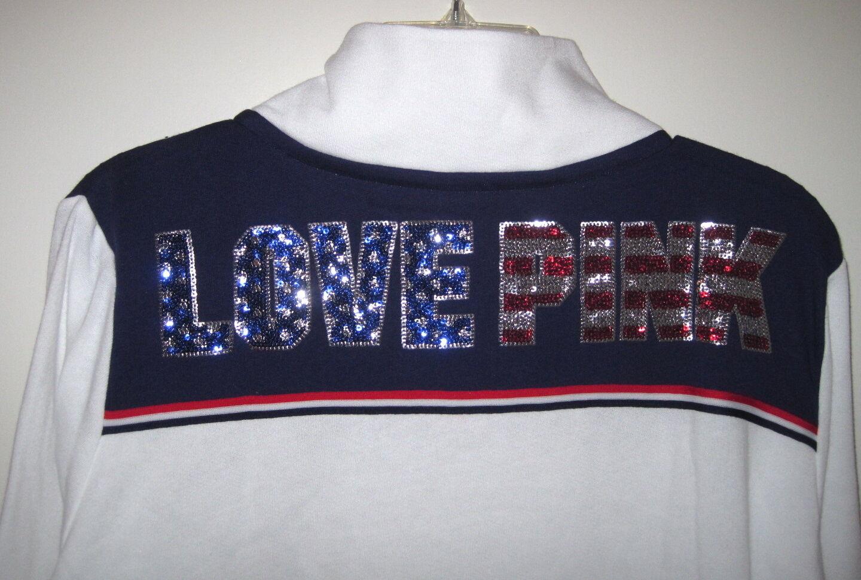 NIP VICTORIA'S SECRET PINK PINK PINK AMERICA PATRIOTIC STAR FLAG BLING HALF ZIP SWEATSHIRT f90672