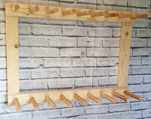naturel Chêne Foncé Wall Mounted Welly Rack Wellington Botte d/'équitation 8 paire