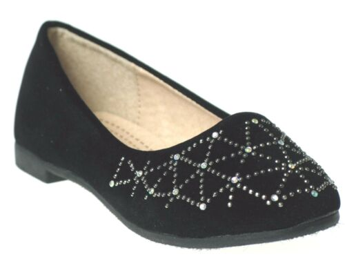 New Girls Fashion Studded Rhinestone Ballet Flats Slip-On Shoes Black Beige Tan