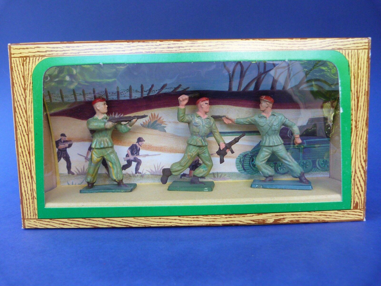 STARLUX - Ancienne boîte 3 soldats parachutistes 54mm - plastic toy soldier