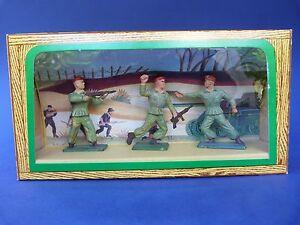 Starlux - Ancienne Boîte 3 Soldats Parachutistes 54mm Plastic Toy Soldier