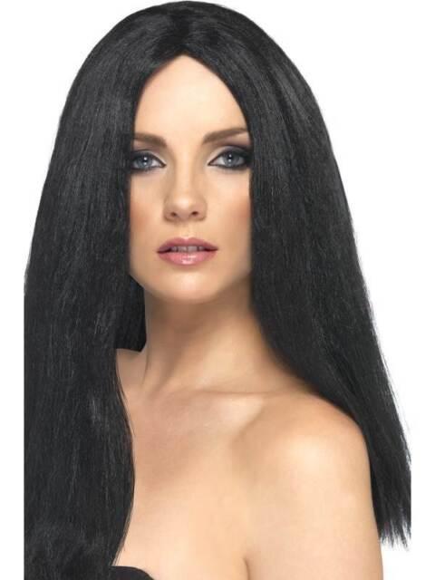 Long Black Straight Wig, Star Style Wig, Superstar Fancy Dress Accessory #CA