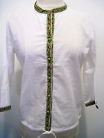 Anokhi White 100% Cotton Light Jacket 3/4 Sleeves Colorful Trim Size S,nwt