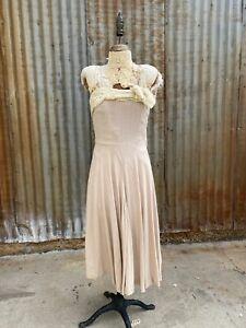 Details zu Vintage 8s Creme Leinen Midi Kleid Spinnennetz Spitze  Schleife Ärmellos Eng