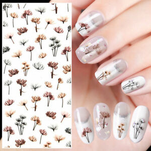 2-Sheets-Dandelion-Design-3D-Nail-Art-Stickers-Adhesive-Transfer-Decals