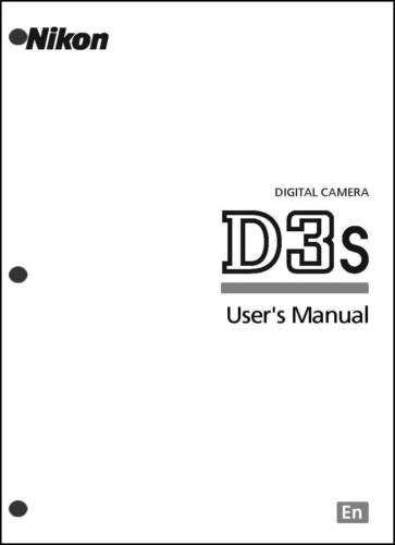 Nikon D3S User Manual Guide Instruction Operator Manual