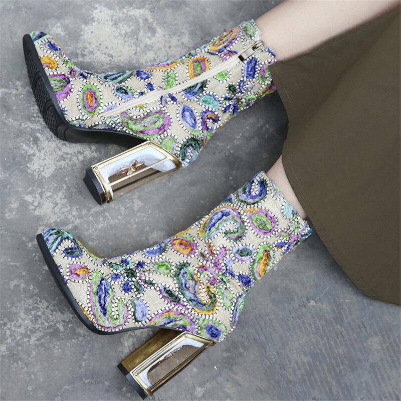 Mujeres Mujeres Mujeres Floral MultiColor Bloque botas al tobillo con cremallera Taco Alto Puntera en Punta Zapatos Talla  mas preferencial