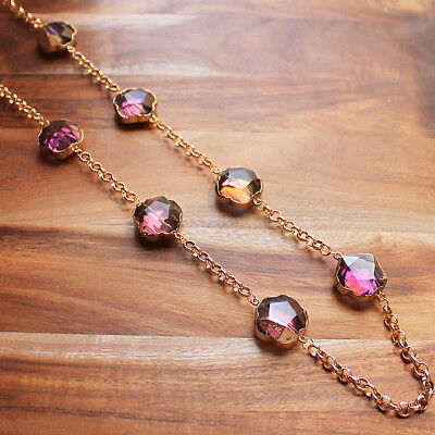 Long Gold & Chunky Pink Flower Shaped Crystal Necklace