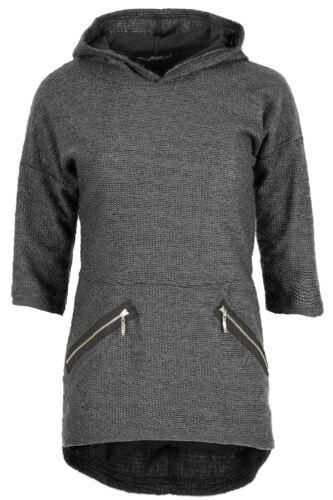Ladies Front Pockets Gold Zip 3//4 Sleeves Hooded Lagenlook Jumper Pullover