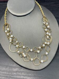 Vintage Necklace Pearl Accented circle link gold tone 16 inch delicate