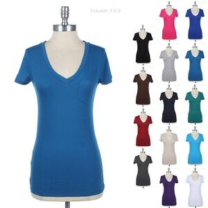 Solid-V-Neck-Tops-For-Women-Short-Sleeve-Basic-Top-Tee-Shirt-Cotton-S-M-L