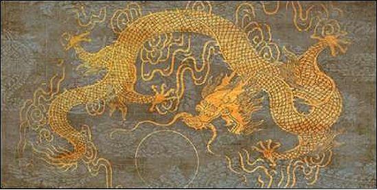 Joannoo  Golden Dragon Keilrahmen-Bild Leinwand Drache Gold