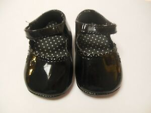 Baby Girls Trimfoot Dressy Black Patent Shoes, Sz 3, Scalloped Edges