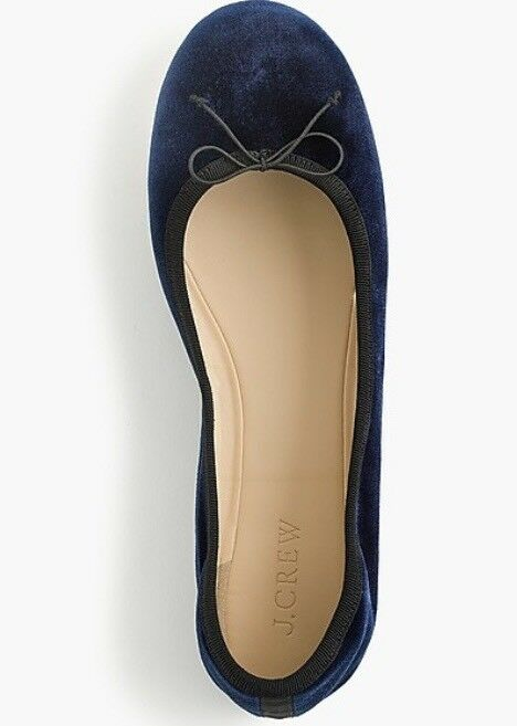 NIB Women's J. Crew Evie Ballet Flats shoes In Navy Velvet 9.5 NEW