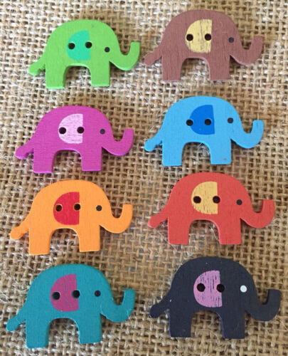 Pack of 8 Wooden colourful Elephant Buttons