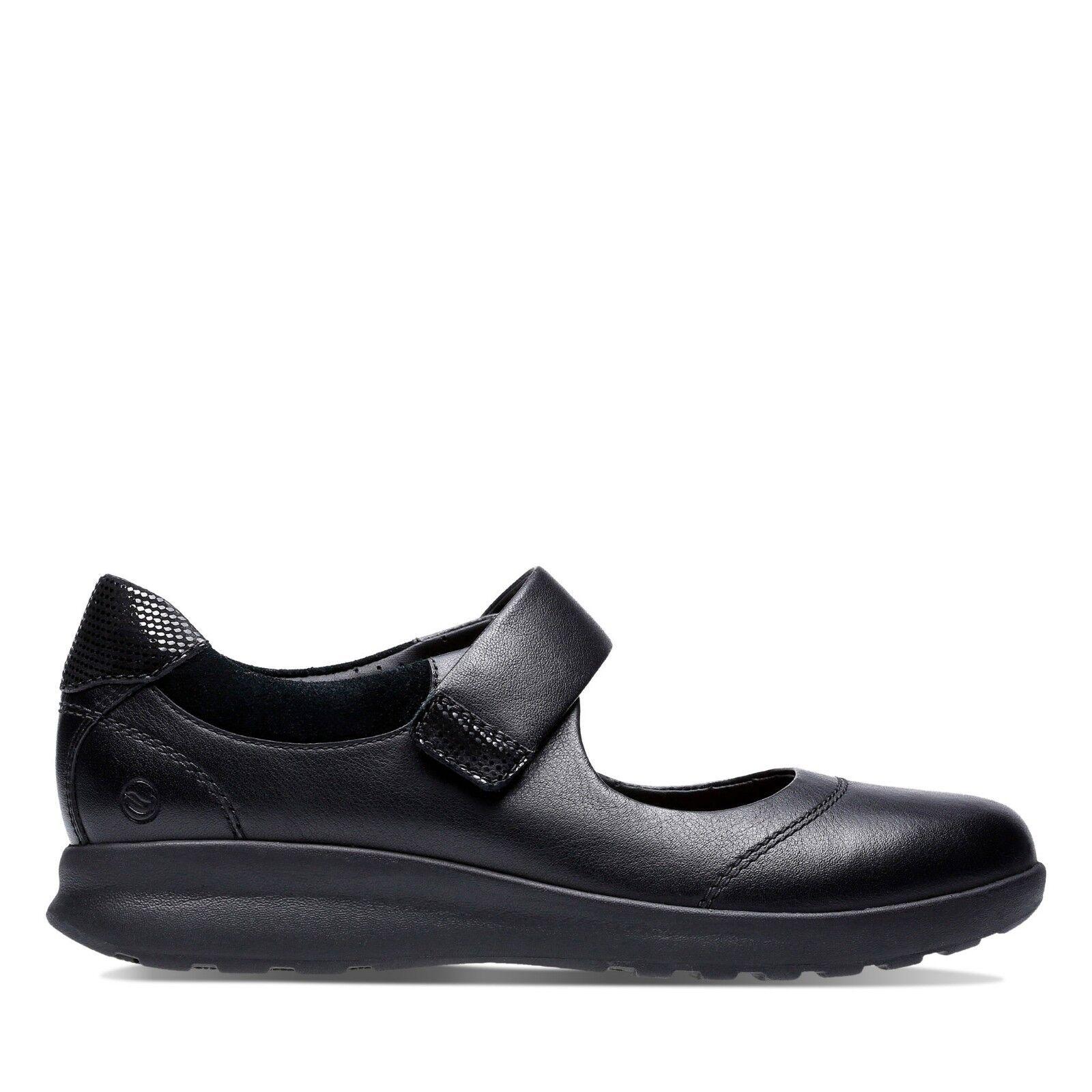 Clarks femmes Casual Chaussure ONU ornent Bracelet en Cuir Noir E largeur de montage