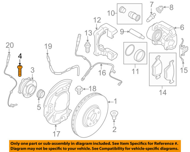 BMW 428i '14 Front Left and Right Bolt for Wheel Hub/bearing Set of 4  Genuine