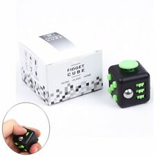 Stress Relief Focus 6-side Figet Cube Dice Toy For Adults Kids Black&Green