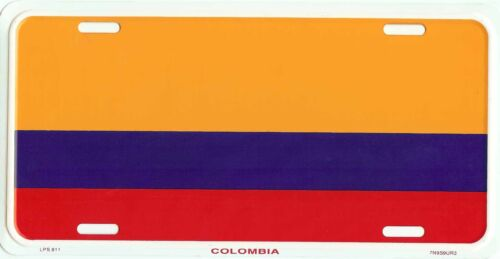 COLOMBIA COLUMBIA COUNTRY FLAG EMBOSSED METAL LICENSE PLATE TAG NEW #811