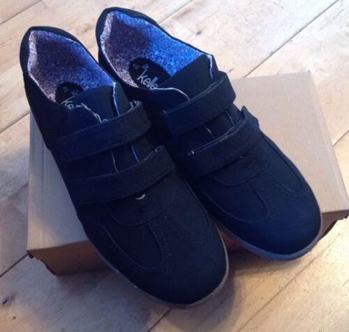Women/'s Dr Keller Velc Shoe Trainer Size 8 Black Pump Suede Look Comfort Felxibl
