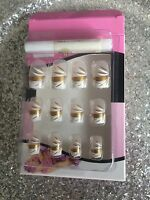 Kit Faux Ongles Nail Art 12 Capsules Pret A Poser + Colle Deco Or Et Blanc Class