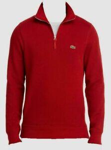 Lacoste-Men-039-s-Half-Zip-Mock-Neck-Red-Pullover-Sweater-Size-5-NWOT