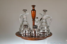 VERY RARE 1950?s #1485 SATURN by Heisey CLEAR CONDIMENT SET w/Sterling Silver