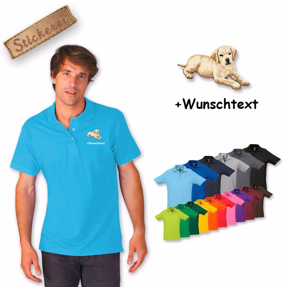 Camicia Polo Cotone Cane di Ricamato Ricamo Labrador 3 + Testo Personalizzato
