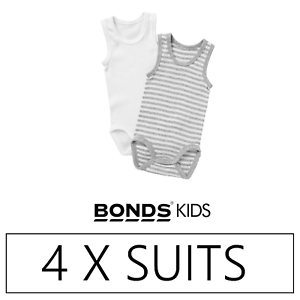 4 x BONDS BABY SINGLETSUIT PK1 Singlets Under Layer