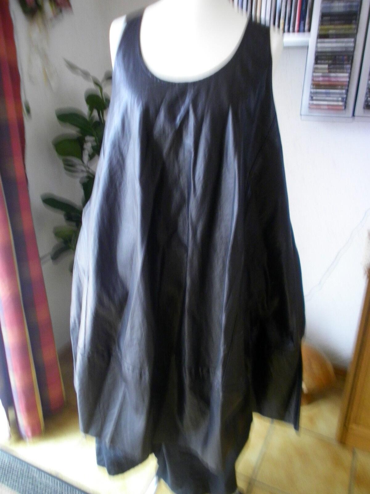Rundholz schwarz Label Kleid Tunika A-Linie Lederimitat Gr.OS Lagenlook Traumteil
