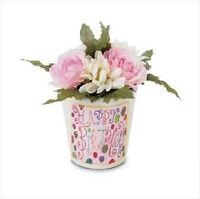 Happy Birthday Mini Fabric Roses Flower Bouquet Terra Cotta Pot Gift Friend Her