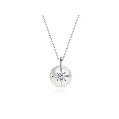 Unique Design 18K GP Synthetic Pearl CZ Necklace/CZ Star