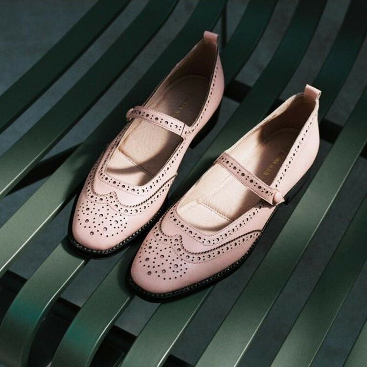 Women Vintage Square Toe Brogues Ankle Strap Pumps Casual shoes shoes shoes Size 8 0b79e0