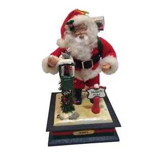Holiday-Scene-Musical-Santa-Noel-Christmas-Carol-Lighted-North-Pole-1990-Vintage
