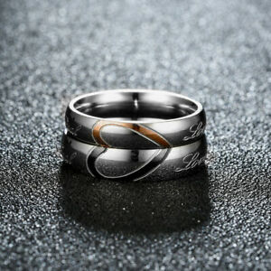 Stainless-Steel-Heart-Couples-Ring-Promise-Engagement-034-Real-Love-034-Wedding-Band