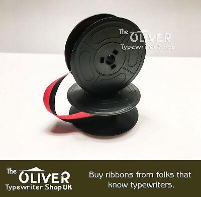 2 x OLIVETTI DORA *BLACK//RED* TOP QUALITY *10 METRE* TYPEWRITER RIBBONS+EYELETS