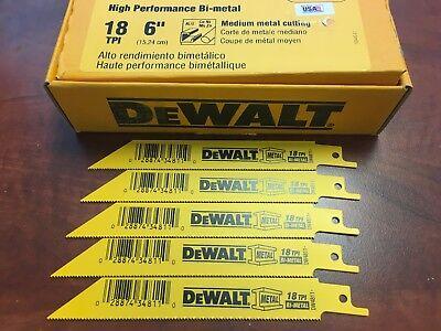 """DEWALT 6/"""" RECIPROCATING SAWZALL SAW BLADES 24TPI BI METAL DW4813 DW4813B 100"""