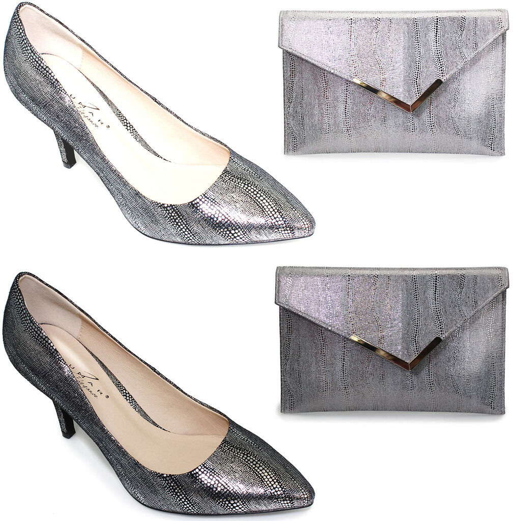 FLV346 Rome Courts Ladies Snake Pointed Toe Slip On Low Heels Bag Clutch
