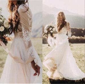 Lace Applique Bohemian Country Wedding Dress Sheer Long Sleeve Boho