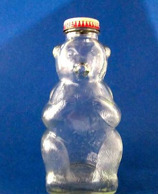 Snow Crest Beverages Glass Bear Coin Bank Bottle Figural 1940s 7 in. Held Syrup