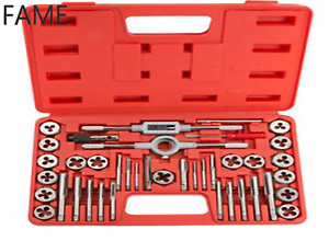 40PCS METRIC TAP AND DIE SET WRENCH CUTS M3-M12 BOLTS HARD CASE