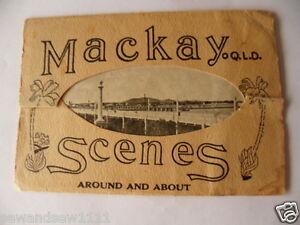 antique-old-vintage-fold-out-picture-postcard-souvenir-Scenes-Mackay-Australia
