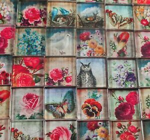 Glass Mosaic Tiles - Flowers Roses Owl Butterfly Birds Vintage Designs 1 Inch