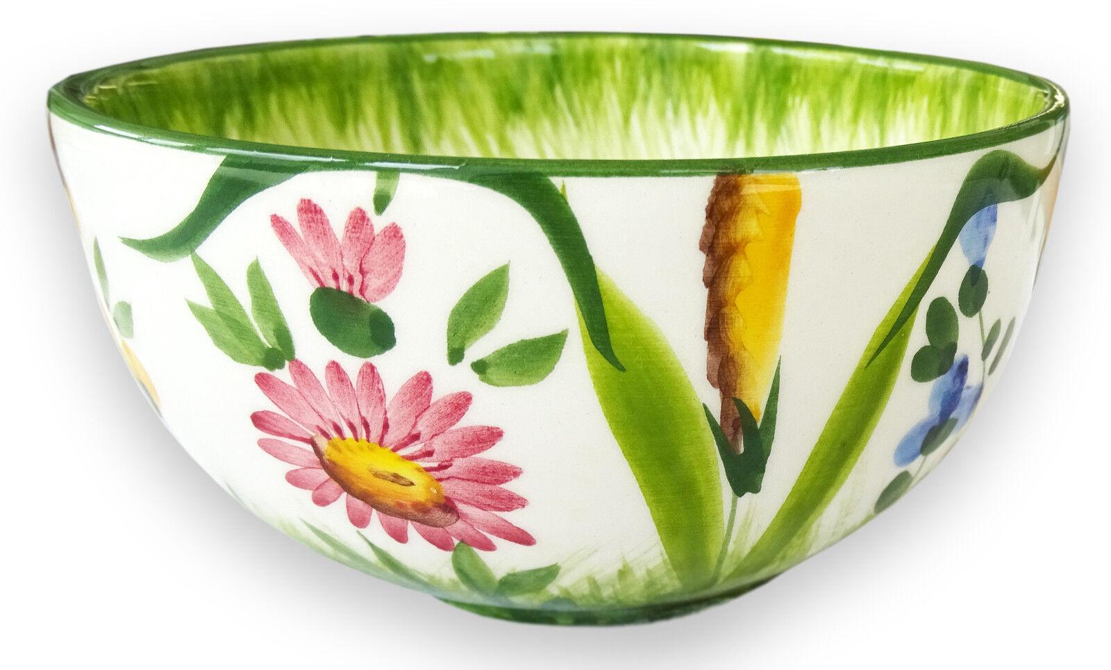 Italienische Keramik Schale Blumenwiese Bunte Schüssel Müslischale